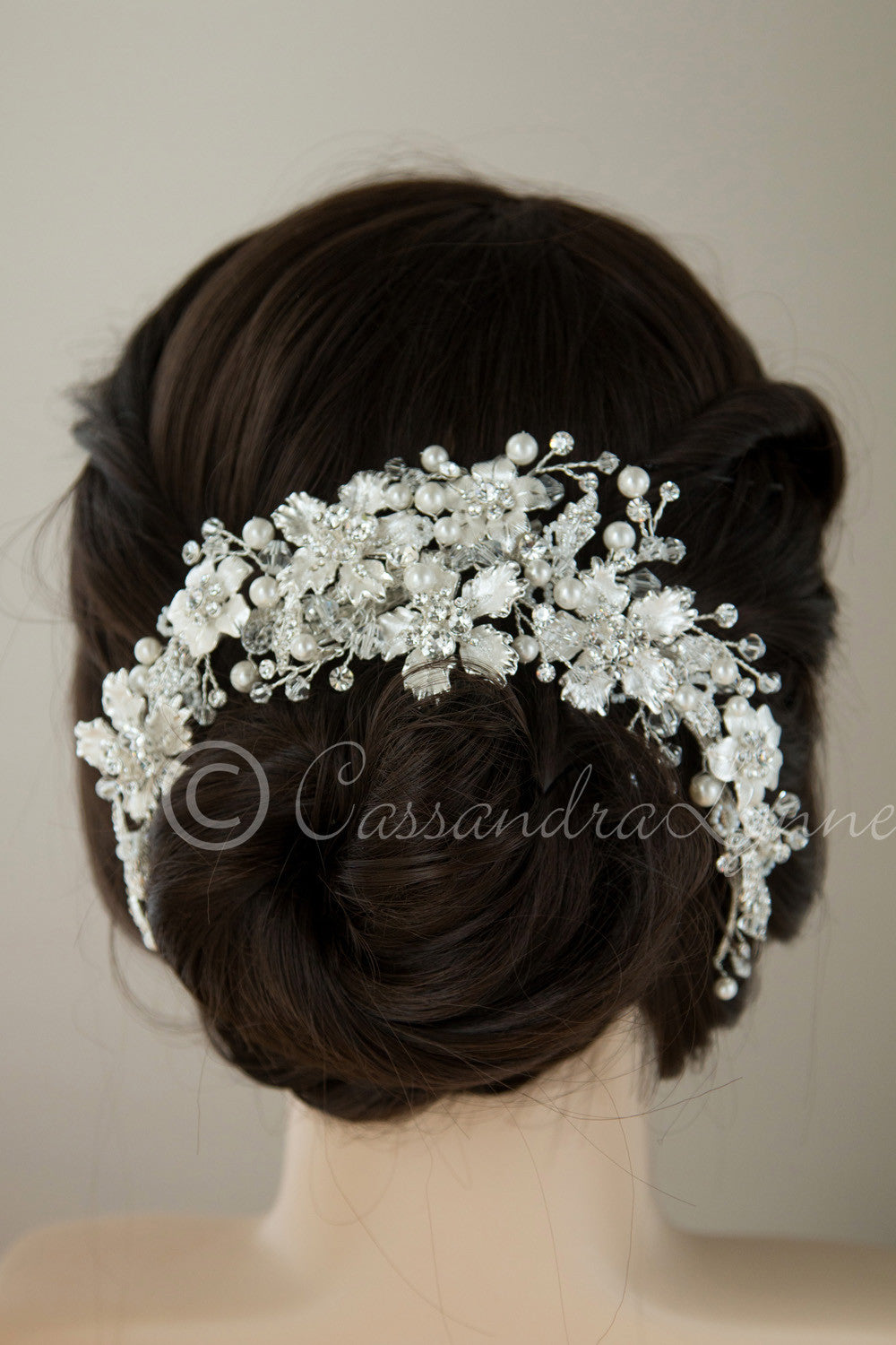 Bridal Headpiece with Silver Frosted Flowers Pearls and Crystals model