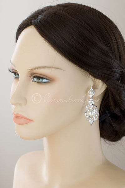 CZ Bridal Art Deco Earrings with Pearl