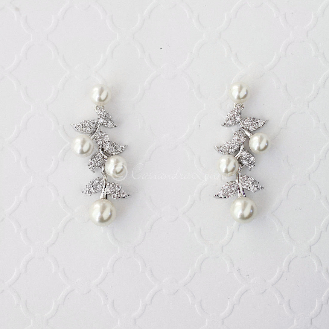 CZ Leaves and Pearls Drop Bridal Earrings