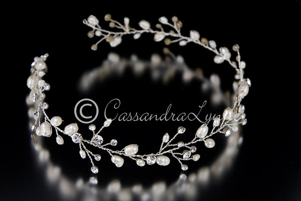 Wedding Hair Vine of Freshwater Pearls and Rhinestones