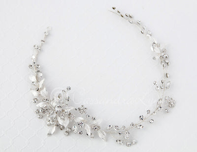 Bridal Hair Vine with Matte Leaves Silver
