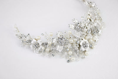 Bridal Headpiece with Silver Frosted Flowers Pearls and Crystals