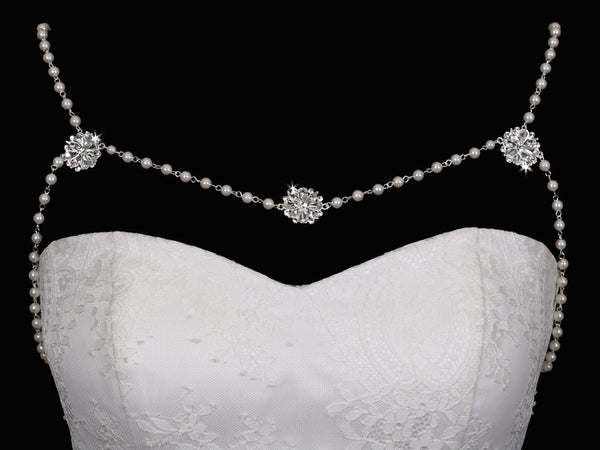 Bridal Shoulder Drape of Simple Pearls and Rhinestones