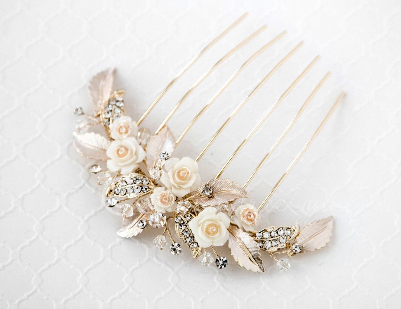 Bridal Veil Comb of Porcelain Flowers and Light Gold Leaves