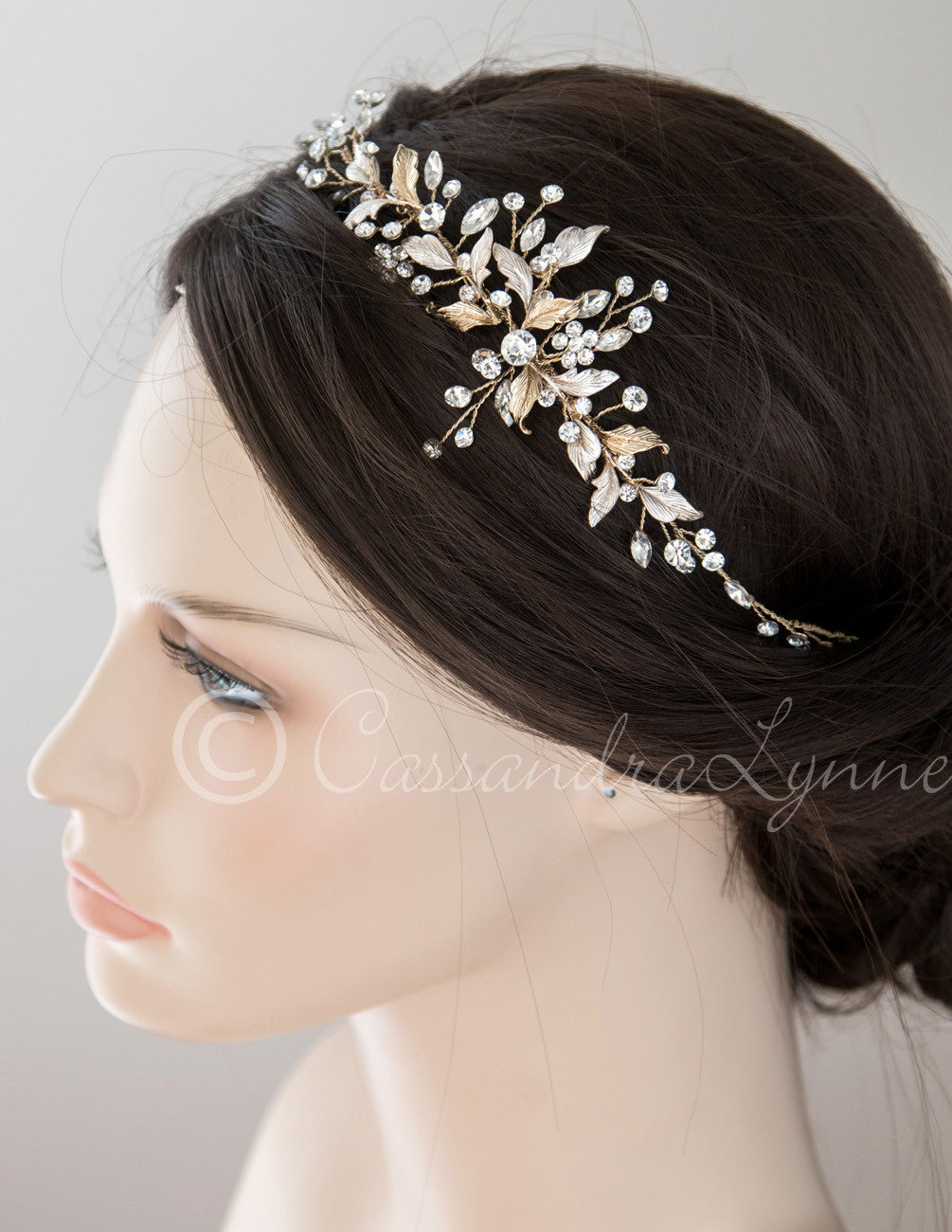 Bridal Hair Vine with Matte Leaves Gold or Silver
