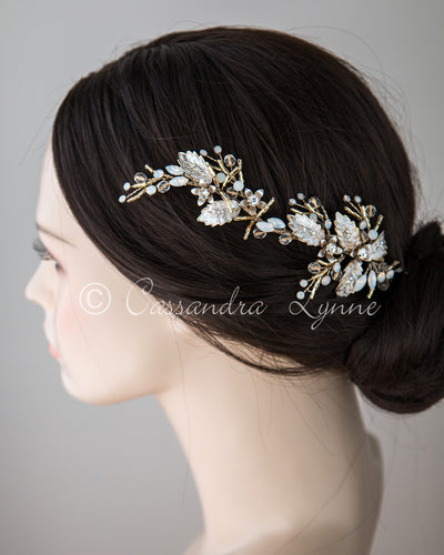 Opal and Light Gold Bridal Hair Clip