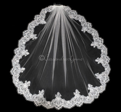 Wide Lace Wedding Veil with Rhinestones