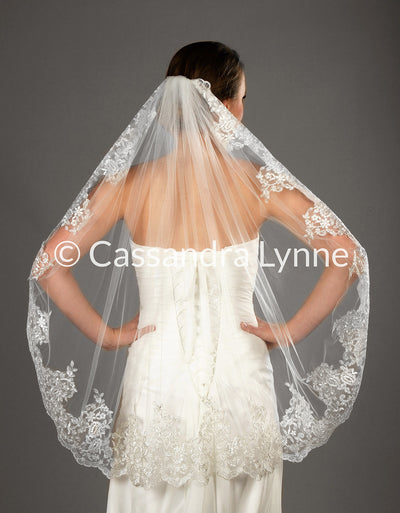 Wedding Veil of Dramatic Lace Fingertip Length