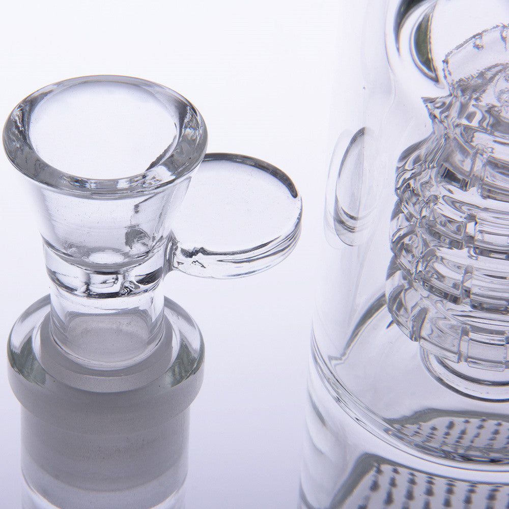 Straight Tube Glass Bong With Disc Perc Triple Honeycomb
