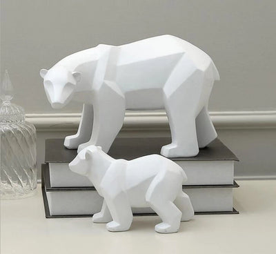 Geometric Polar Bear Statue Set Decoration