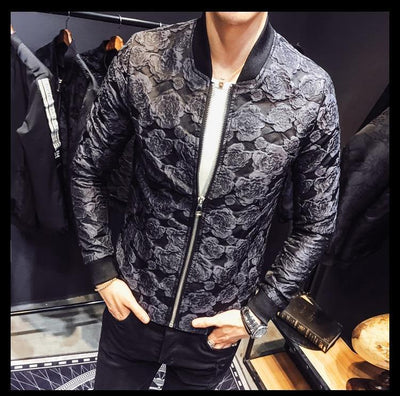 Versus Rose Jacquard Bomber Black Jacket