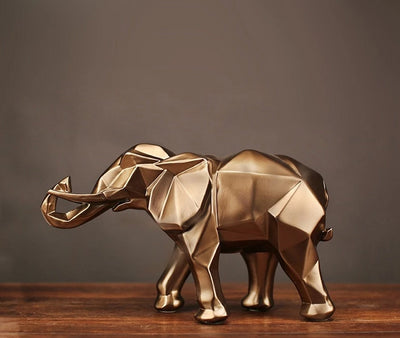 Modern Abstract Gold Elephant Statue