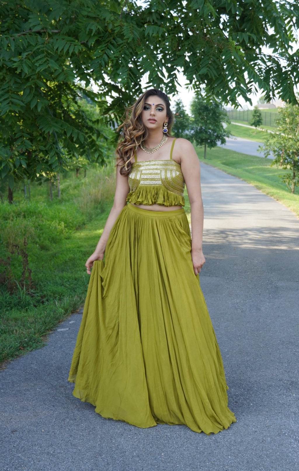 Trendy Leaf Green Indo-Western Crop Top Skirt For Mehendi/Sangeet - Custom Made Bridesmaid Outfits by Indian Designer Sushma Patel