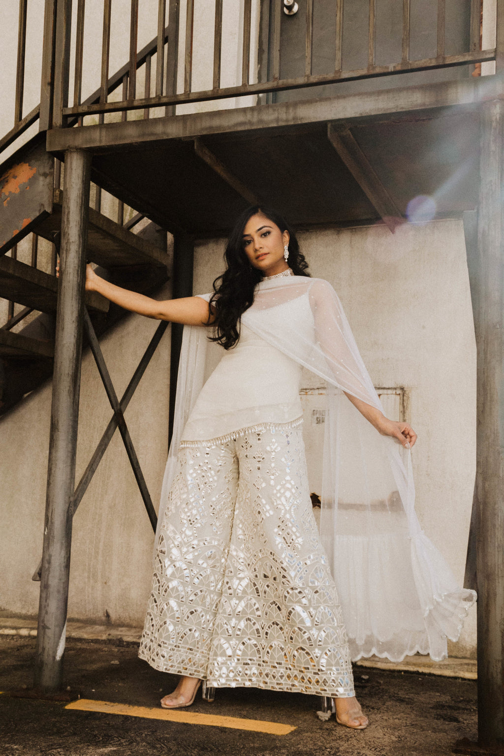 Ice Grey Blue Plazzo Pant With Silver Gotta Embroidery and Spagetti Strap Top - Custom Made by Indian Designer - Sushma Patel