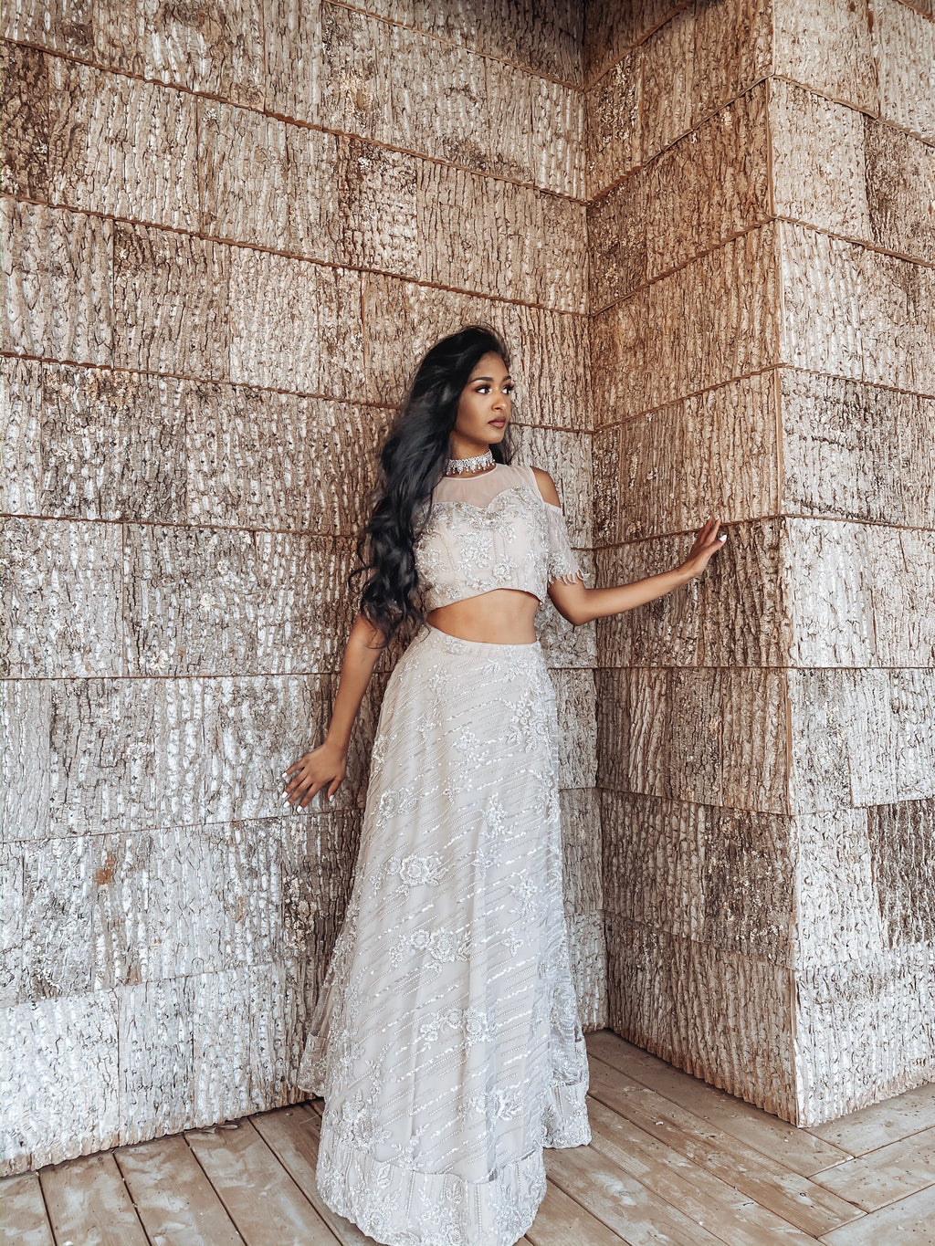 Creamish Beige Bridal Reception Outfit with Silver Sequins Aari and Zardosi Embroidery - Sushma Patel Indian Clothing Boutique in Atlanta, USA