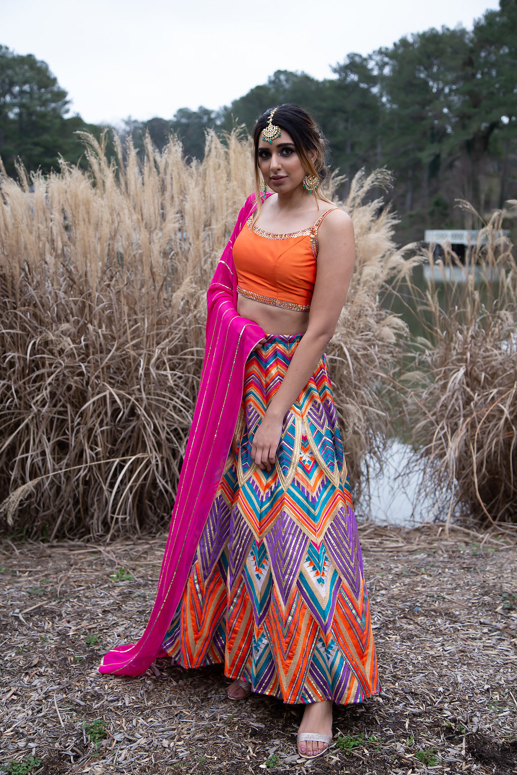 Multicolor Lehenga With Orange Spagetti Strap Choli and Neon Pink Dupatta - Shop Bridal Sangeet Outfit in USA at sushmapatel.us