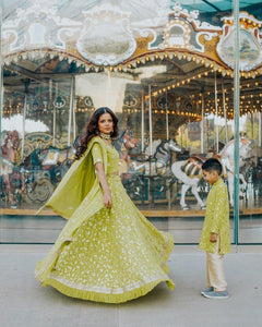 Parrot Green Lehenga Choli Outfit for Bridal Mehendi - Latest Indian Wedding Wear in USA - Sushma Patel