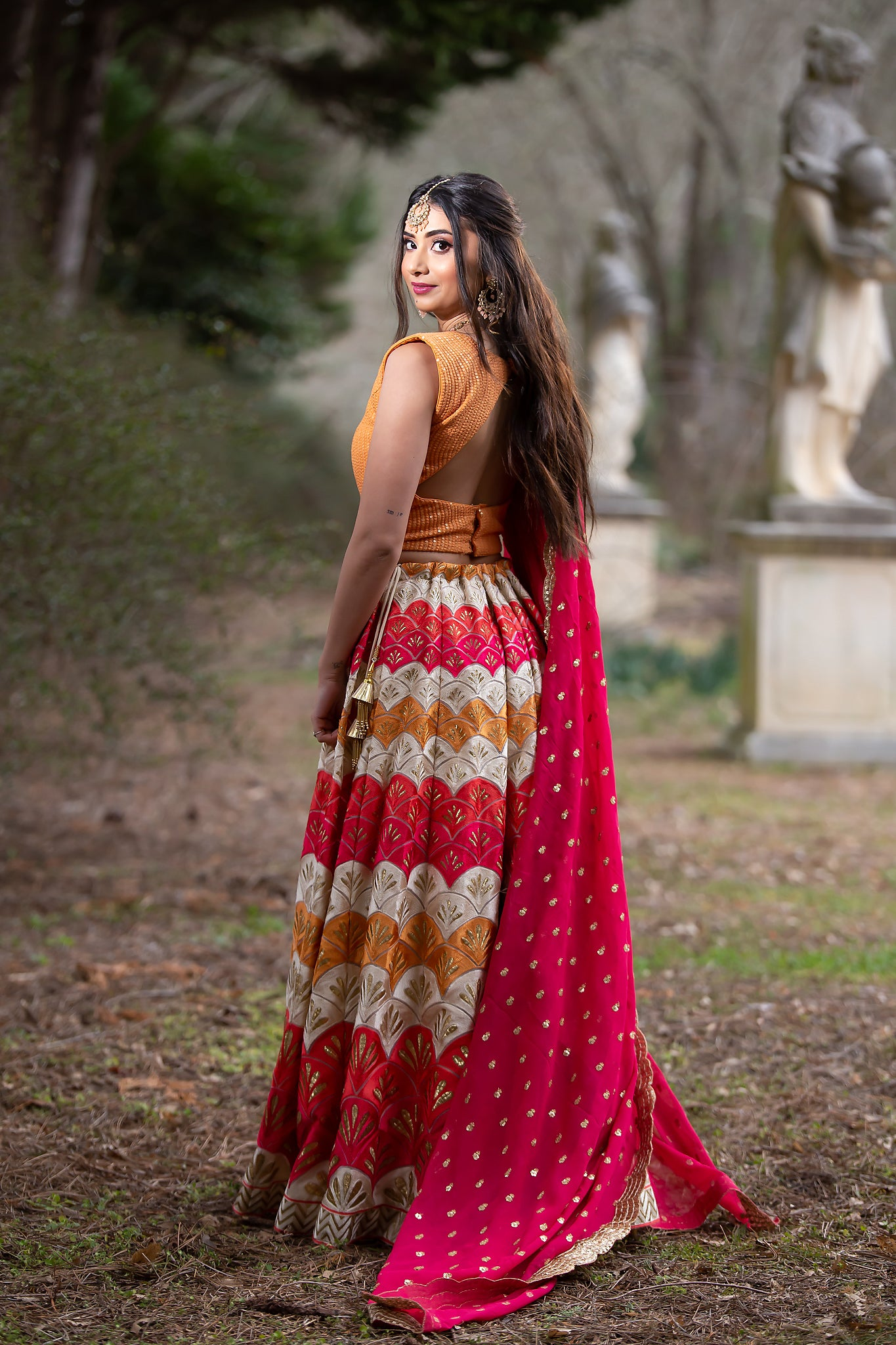 Multicolor Scallop Lehenga with Peach Blouse By Indian Designer -Sushma Patel