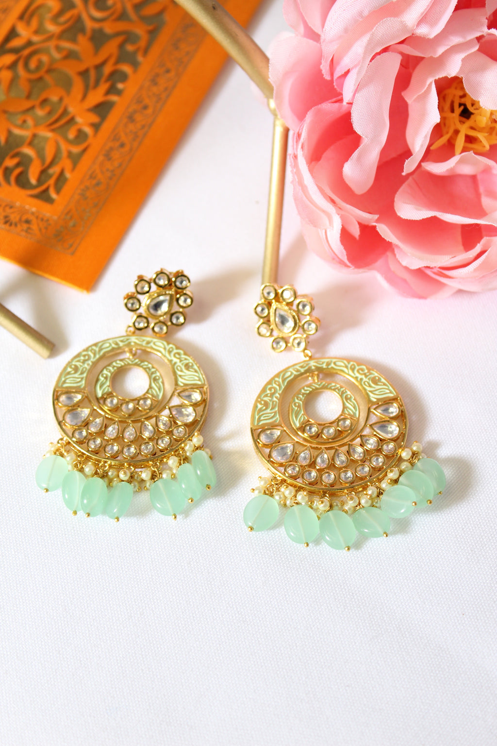 Sea green meenakari chandbali with kundan