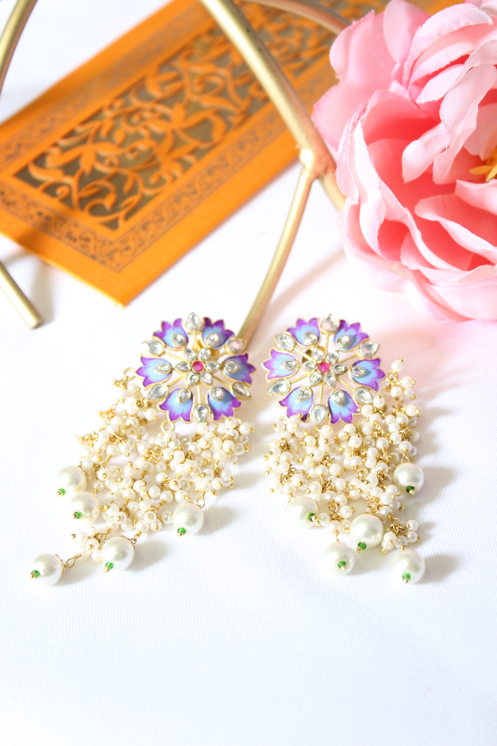Lilac & sky blue floral meenakari with long pearl danglings