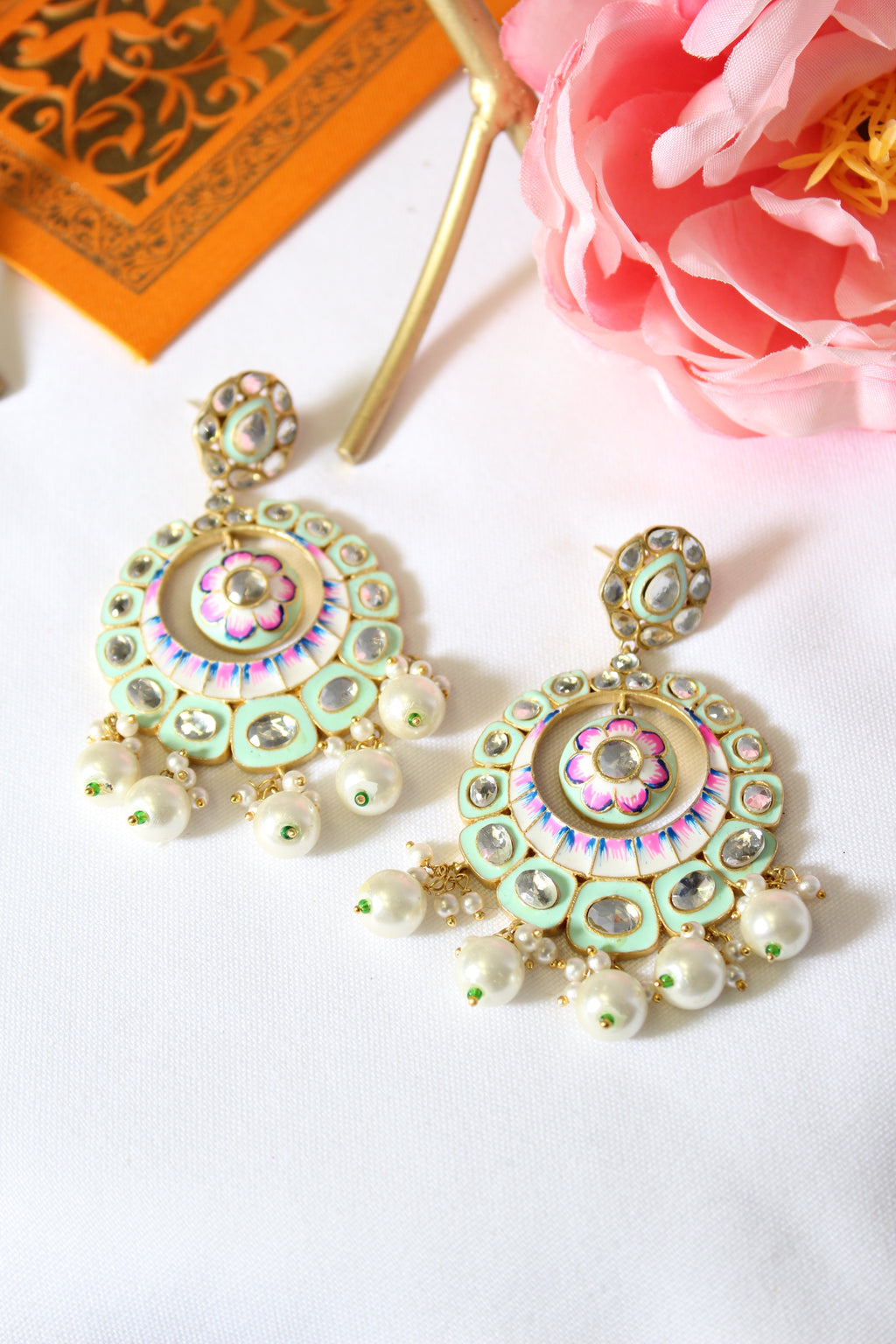 Sea green enamel chandbali with kundan & pearl drops