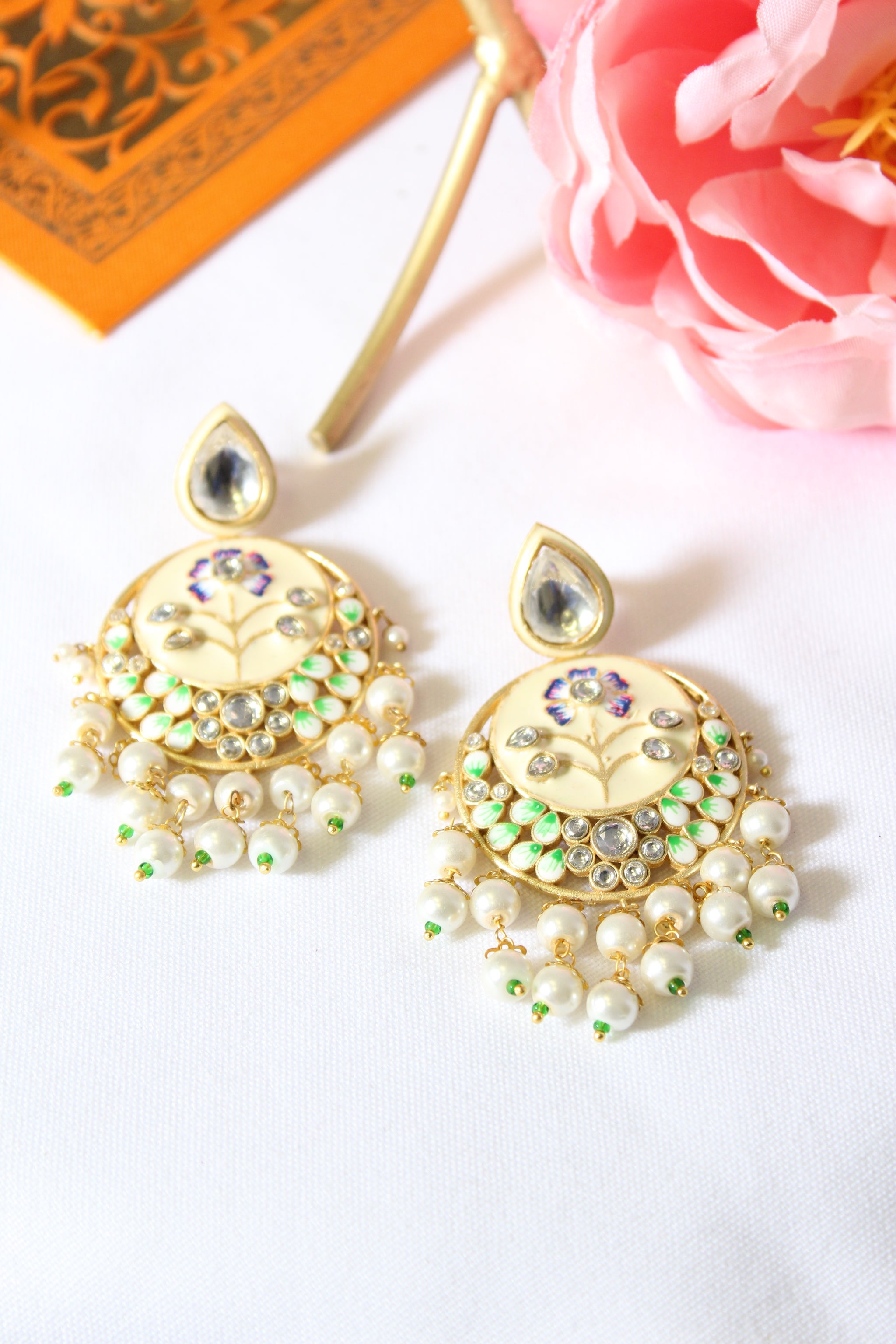 White enamel chandbali with kundan & pearl drops