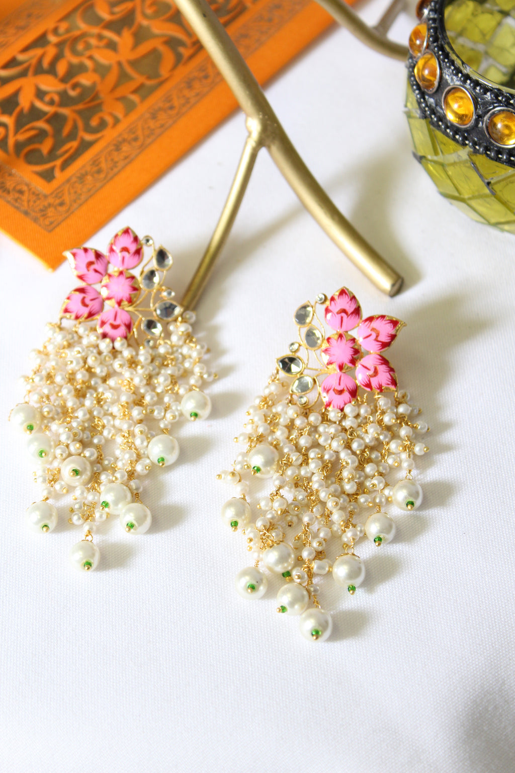 Semi floral enamel stud with kundan & long pearl danglings