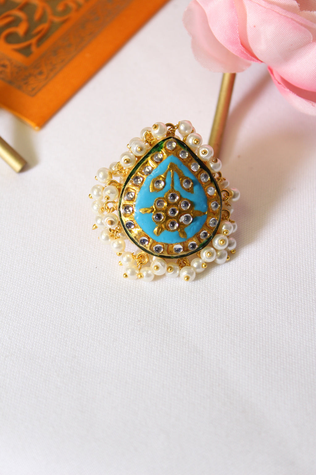 Firozi blue kundan meenakari ring lined with pearls