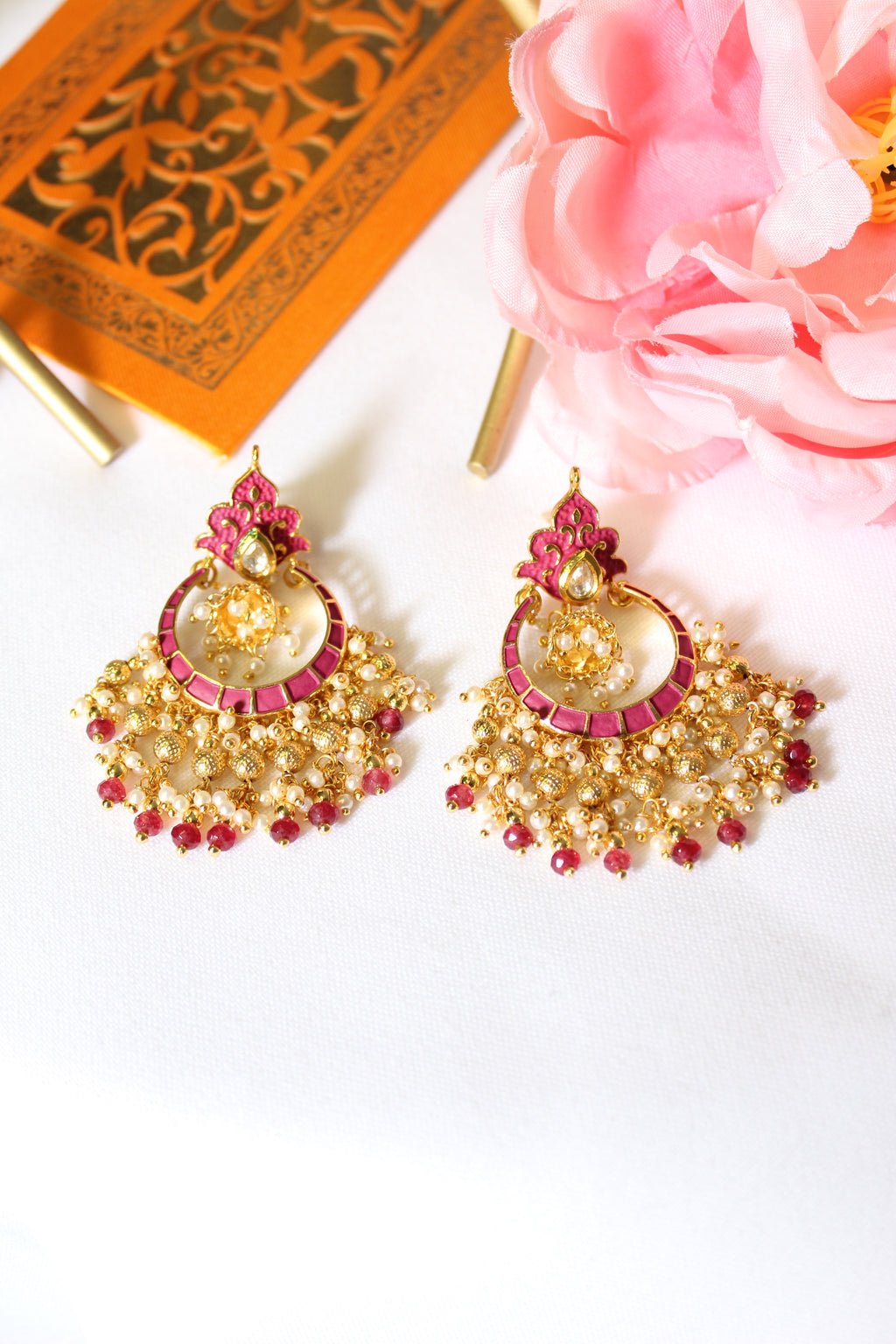 Rani pink meenakari chandbali with dangling beads