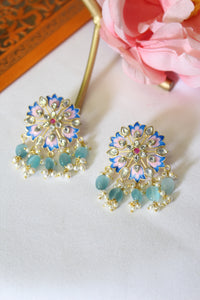 Royal blue & powder pink round floral meenakari stud with sea green beads