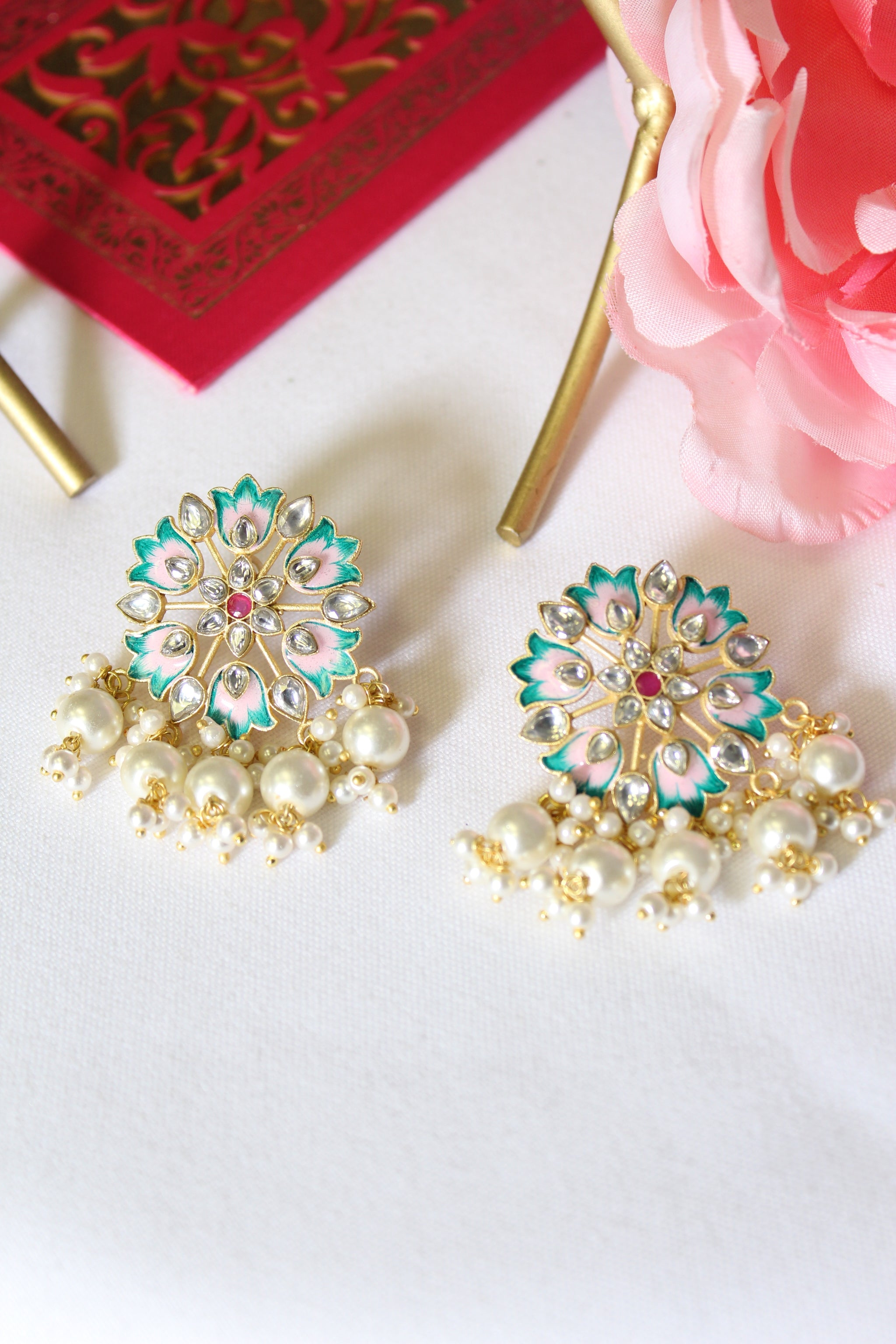 Sea green and powder pink round floral meenakari stud with pearl danglings