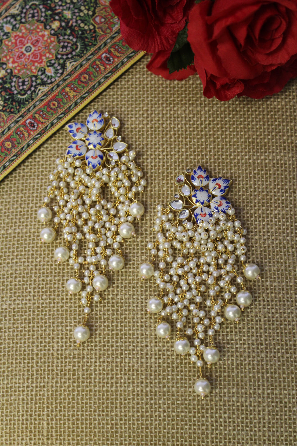 White & blue semi floral meenakari with kundan and long pear danglings