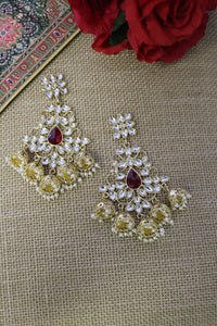 Kundan studded in floral motif with maroon drop stone & jhumki danglers