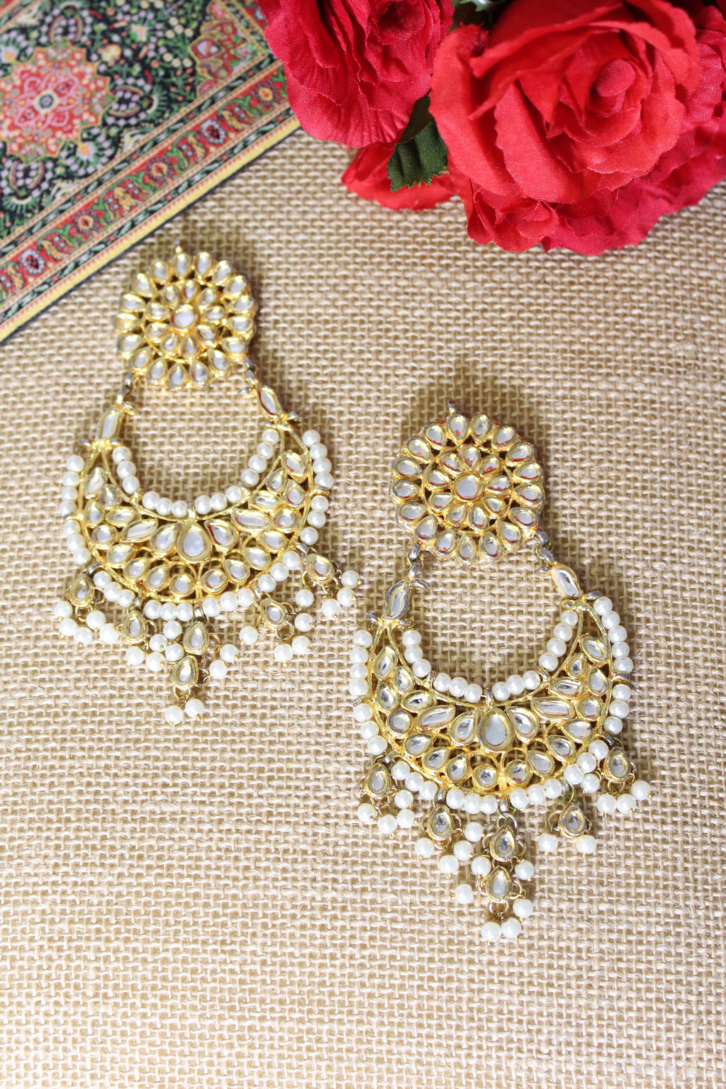 Kundan chandbali with pearls