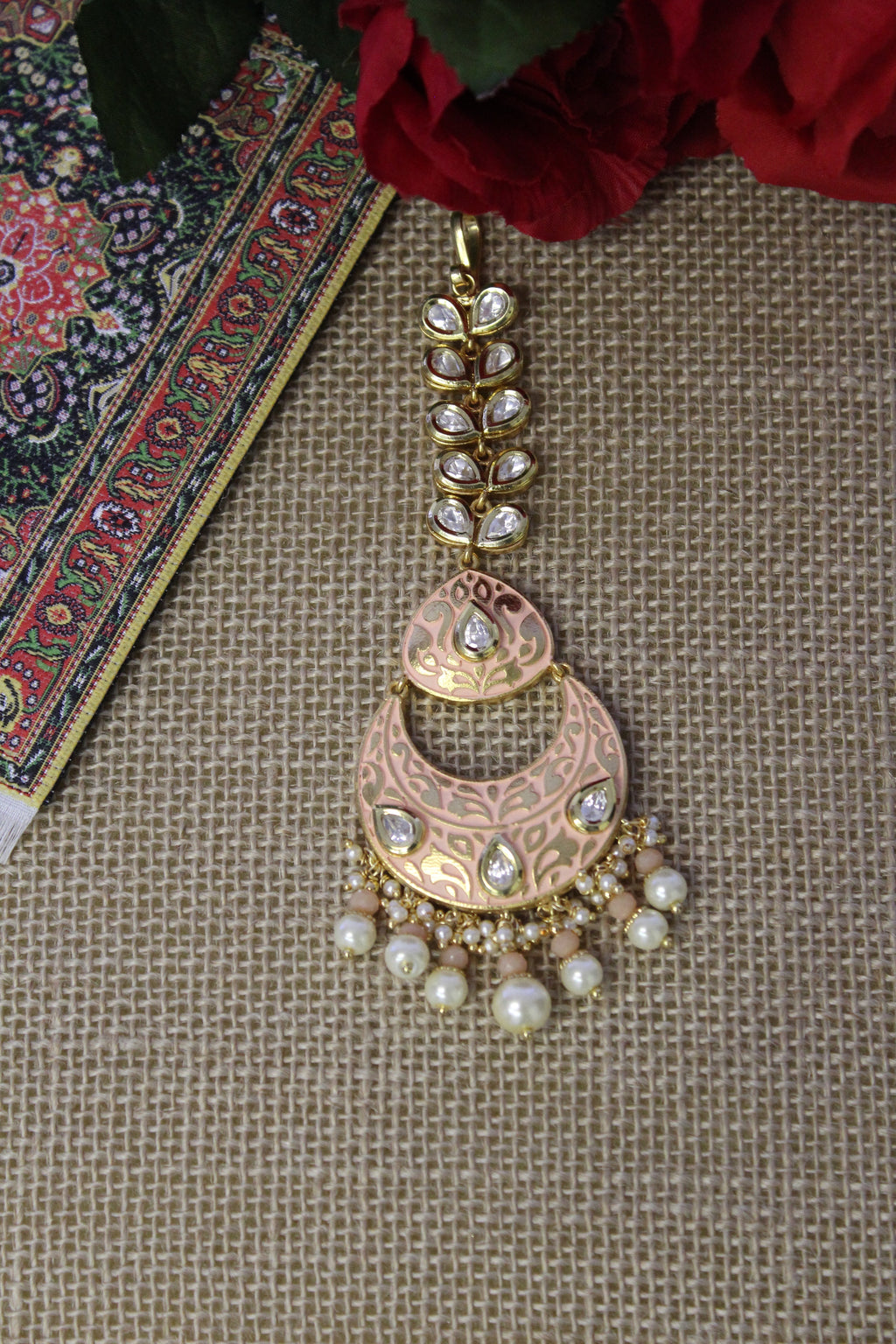 Peach meenakari chandbali tika embellished with kundan