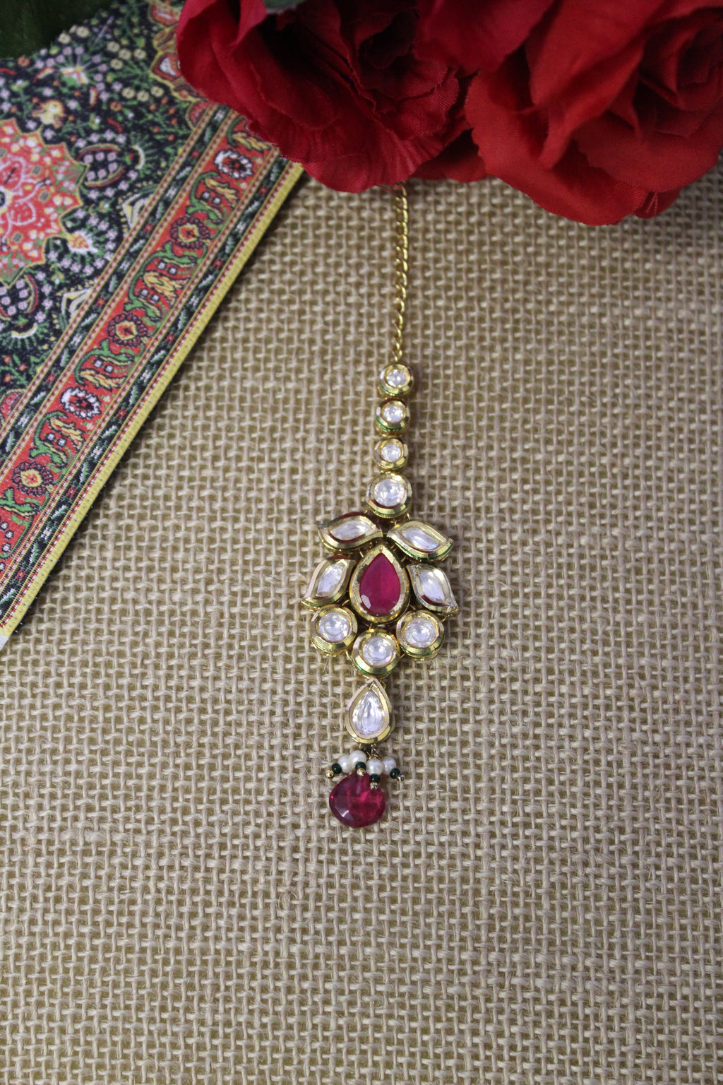 Kundan tika with semi precious ruby stone & bead