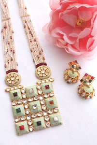 Square navratna pendant with long pearl ladi set