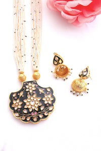 Black meenakari fan shaped pendant with jadau kundan & jhumki earrings