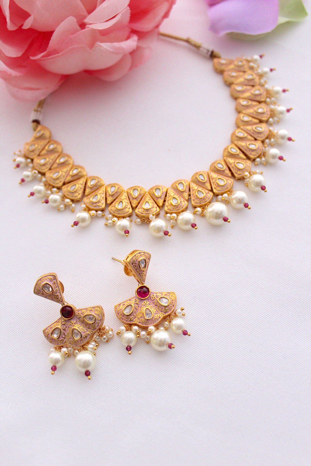 Light rose pink meenakari jadau kundan & pearl necklace set