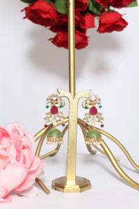 Uncut kundan and ruby embellished earring with green meenakari jhumki