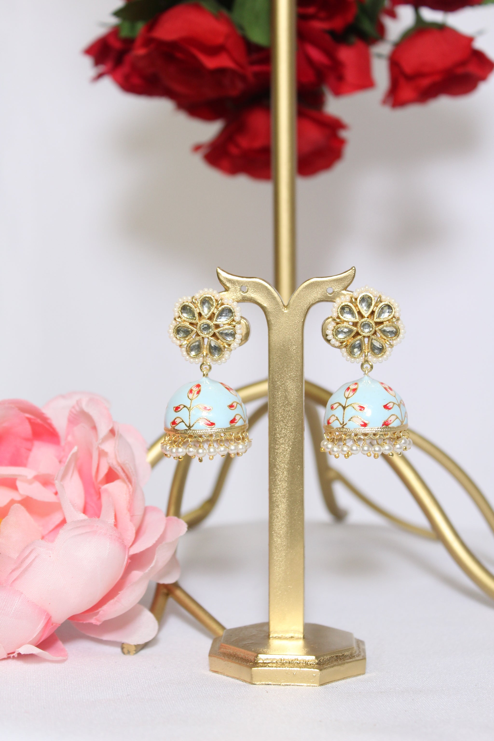 Kundan stud with floral hand painted sky blue jhumki