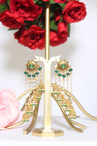 Long uneven dangling jhumki with emerald green beads & semi precious stones