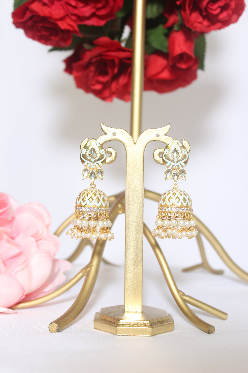 White & gold meenakari jhumki earrings with pearl