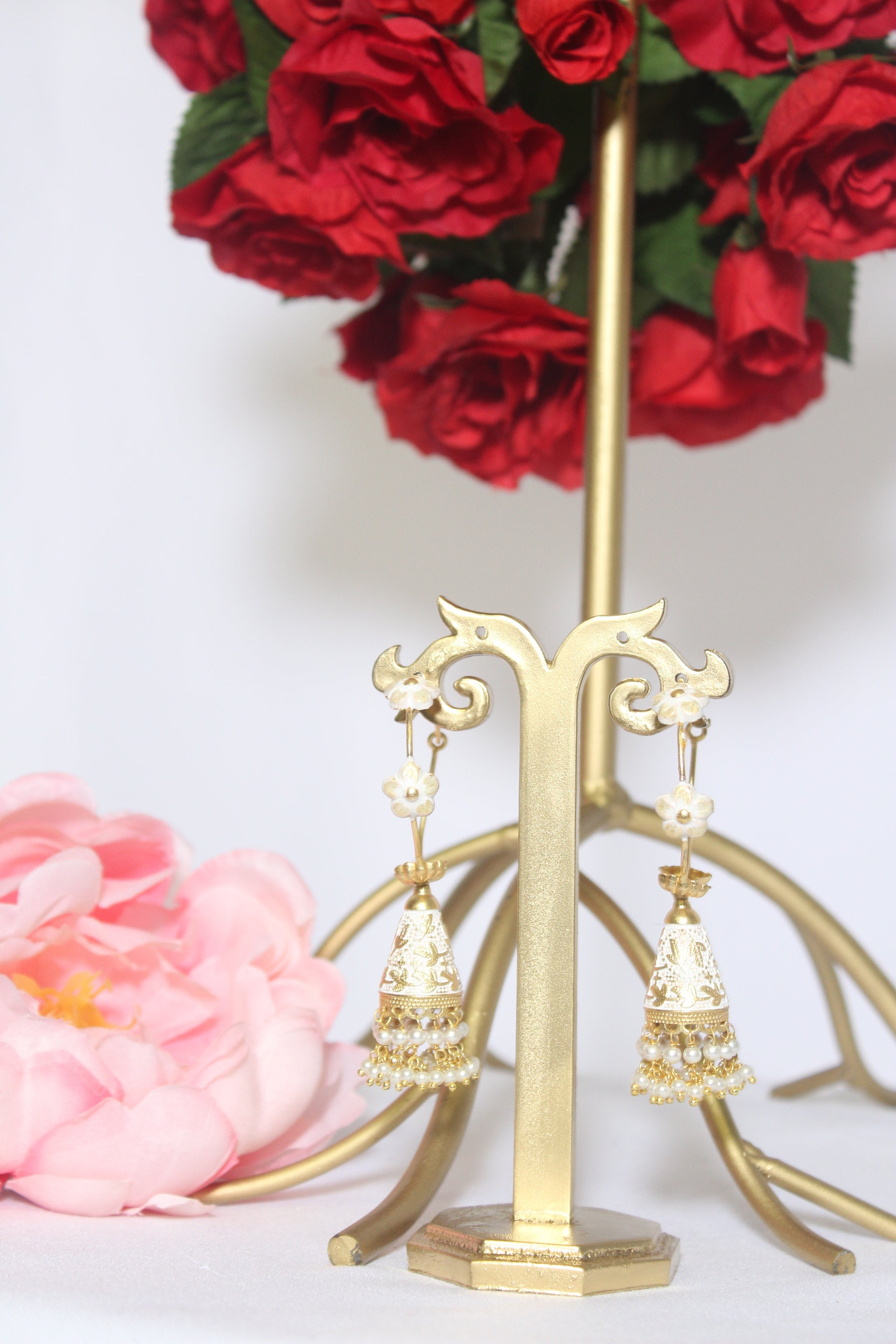 Delicate white & gold meenakari loop earrings with cone jhumki