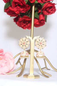 Floral round off-white meenakari stud with dangling jhumki