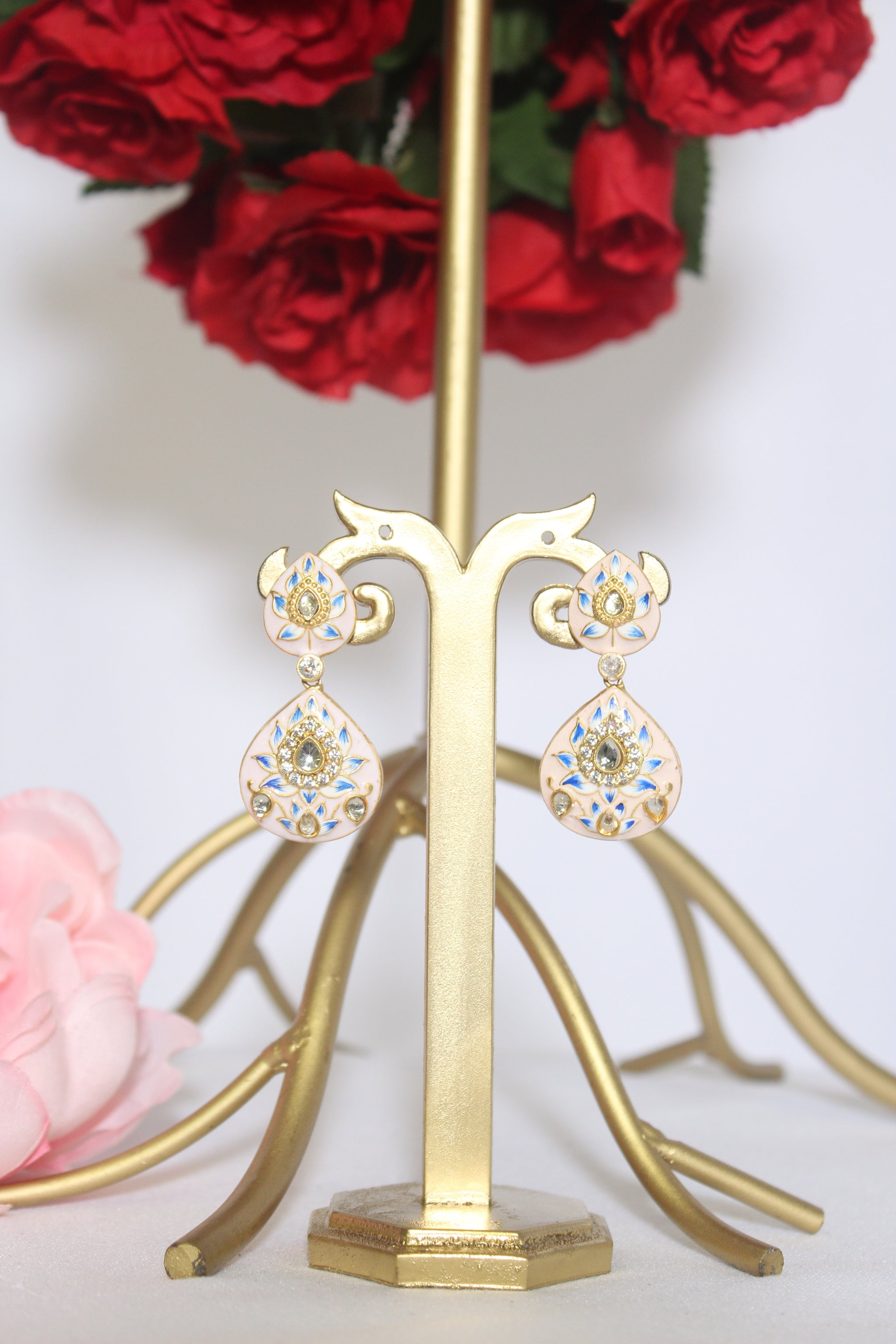 Peach pink meenakari drop dangling earrings studded with kundan