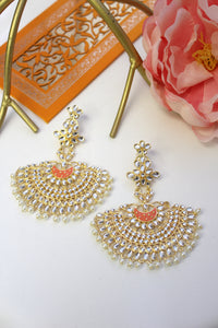 Kundan chandbali with orange meenakari