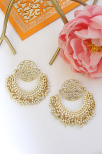 Gold plated chandbali with filigree disc studs