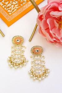 Oval peach meenakari stud with kundan chandbali layers