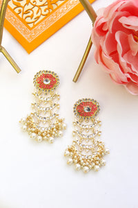 Oval coral pink meenakari stud with kundan chandbali layers